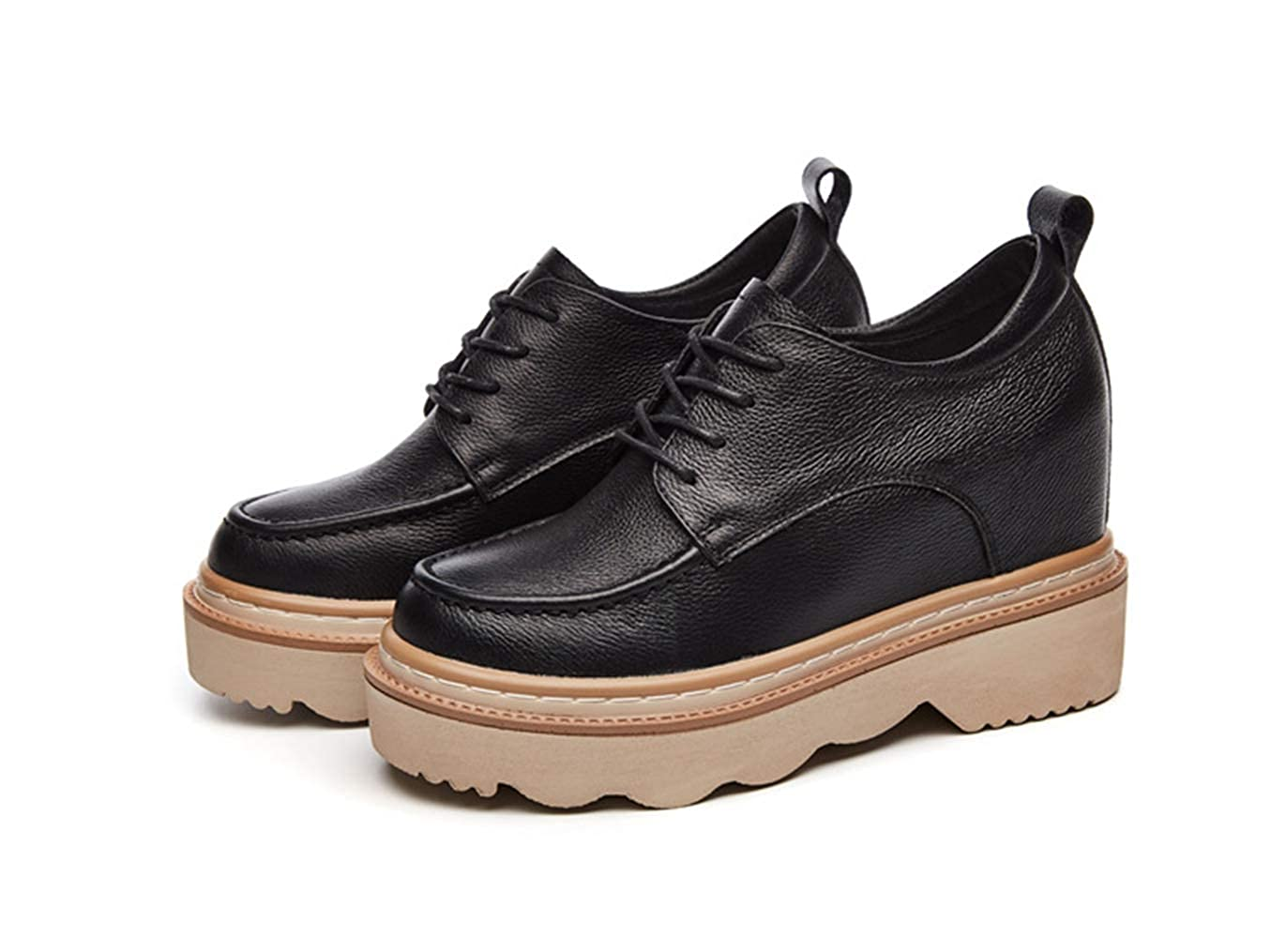Black T-JULY Woman Autumn Genuine Leather Leisure shoes Female Casual Platform White Wedge Sneakres