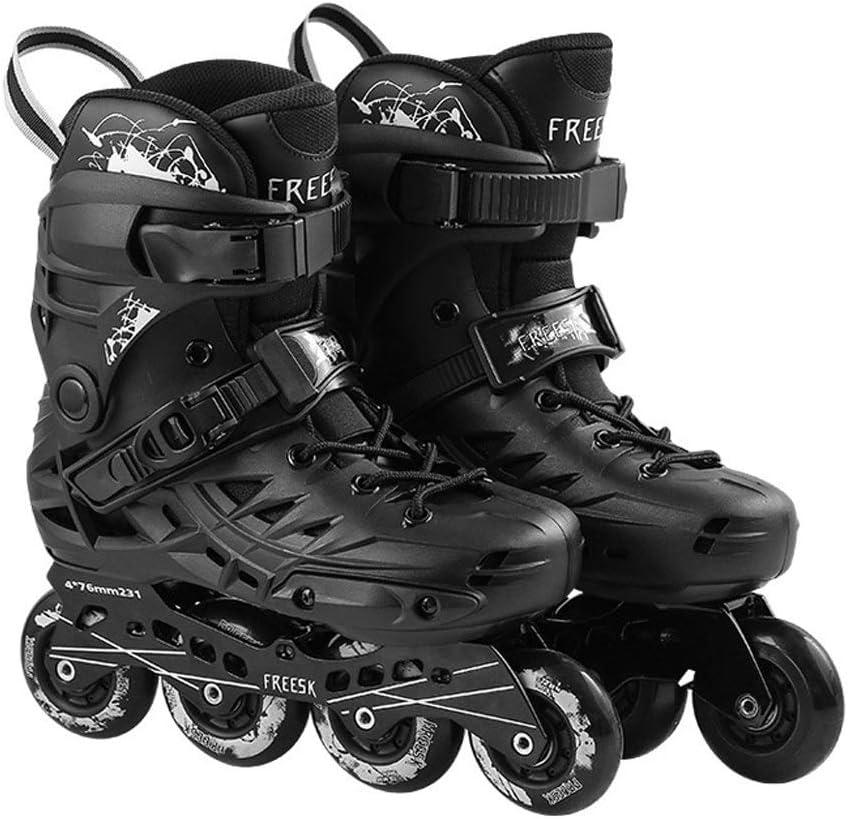 ローラーブレード、ローラースケート、インラインスケート、子供や若者のための適した、3-10ヤード、古典的な黒/白、発光輪、初心者用スケート、簡単に着ける、楽しいスケート、屋内/屋外用ローラースケート。若い人たち、 (Color : 黒, Size : 6)