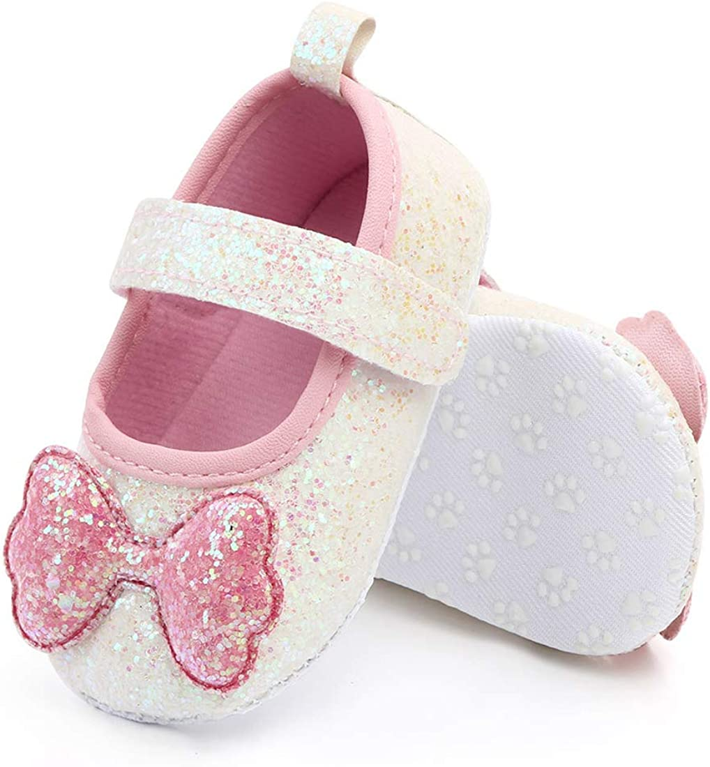 Tutoo Baby Girls Shoes,Mary Jane Flats Princess Dress Sparkly Bow Birthday Crib Shoe,Soft Sole Newborn Crib Shoes Intant First Walkers Shoes