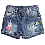 Aulase Little Girls Summer Cute Printed Basic Casual Stretch Denim Jean Shorts Bird 4T