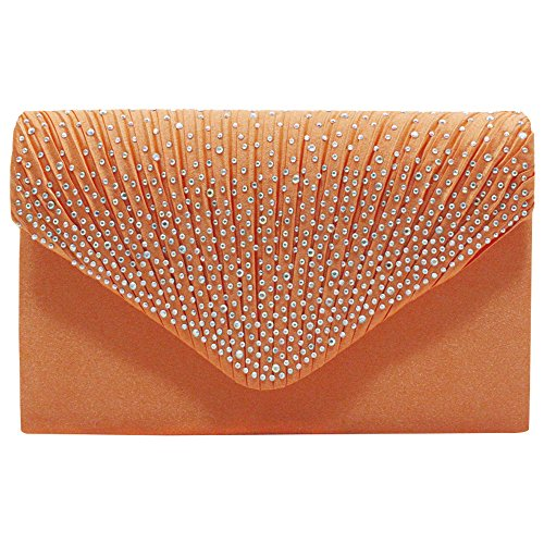 Wocharm (TM) Women's Diamonte Envelope Clutch Shoulder Bag Purse Womens Fashion Wedding Bridal Prom HandBags Orange