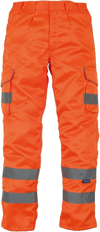 Yoko Mens Hi Vis Polycotton Cargo Trousers with Knee Pad Pockets
