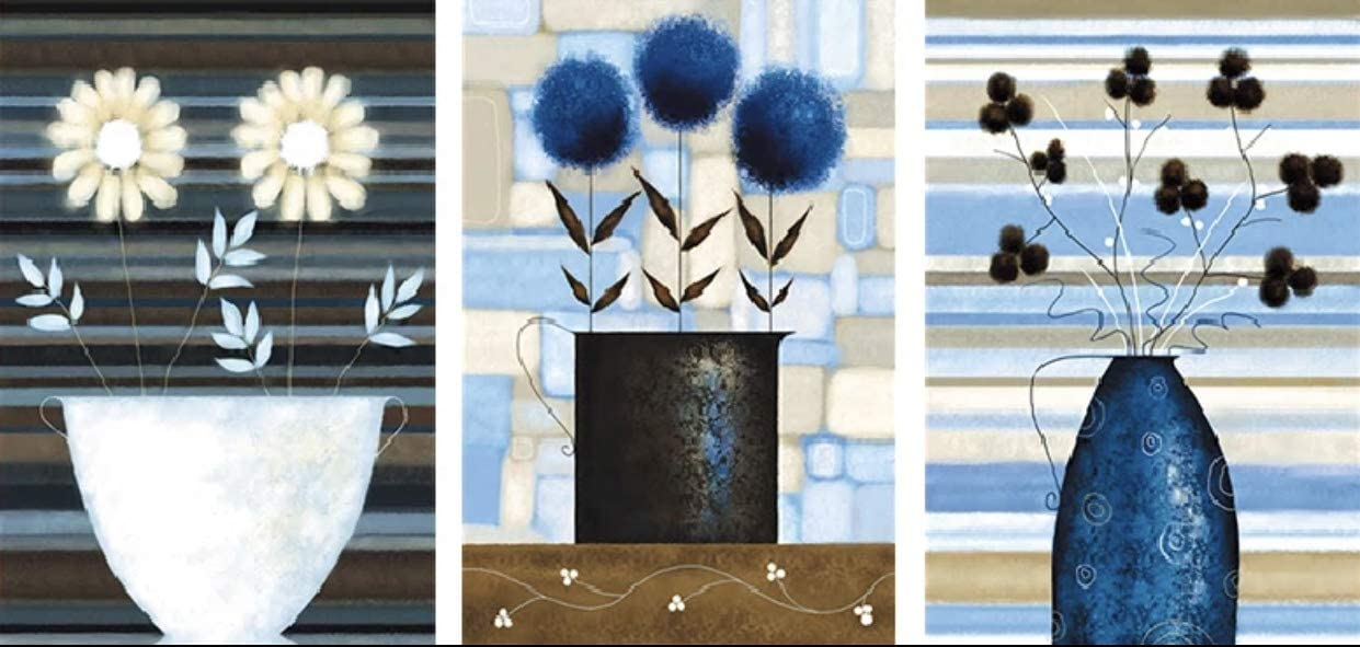DIY Extra Large Diamond Painting Kits for Adults Paint by Numbers Diamond Art Kits 5D Full Drill Round DIY Art Nature Flowers (Set of 3 Blue Flowers) 113x50 cm