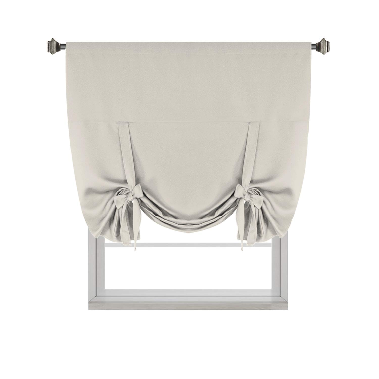 H.VERSAILTEX Thermal Insulated Blackout Curtain Tie Up Window Shade (Rod Pocket Panel) - 42'' Wide by 63'' Long - Cream