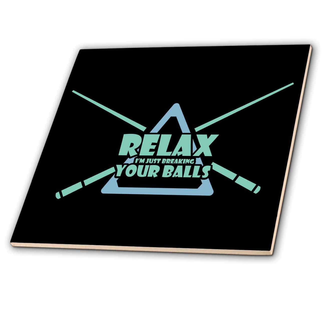 3dRose Sven Herkenrath Billiard - Relax Iam Just Breaking your Balls Pool Billiard Snooker - 8 Inch Glass Tile (ct_320751_7)