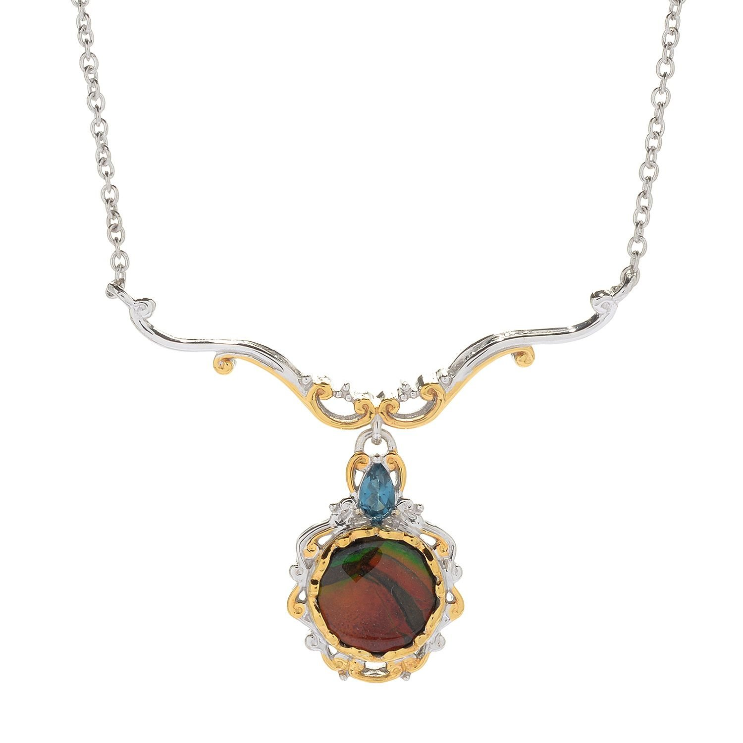 Michael Valitutti Palladium Silver Ammolite Triplet & London Blue Topaz Necklace