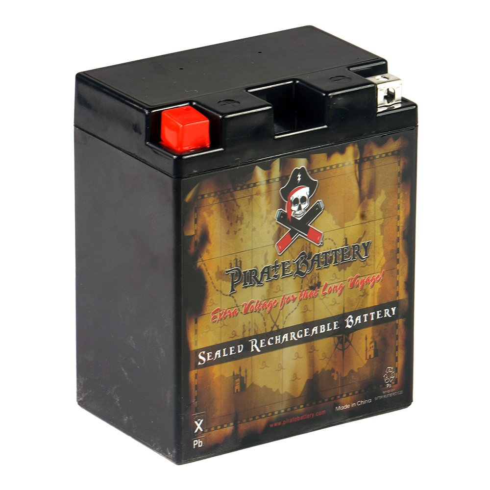 Pirate Battery YB14A-A2 High Performance Power Sports Battery - AGM - Replacement for CTX14AH-BS, CC14A-A2 by Pirate Battery