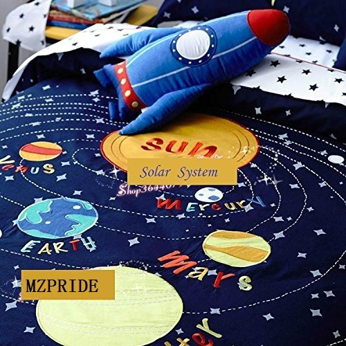 MZPRIDE Cute Cartoon Solar System Bedding Set Stars Bed Sheet Sets Full
