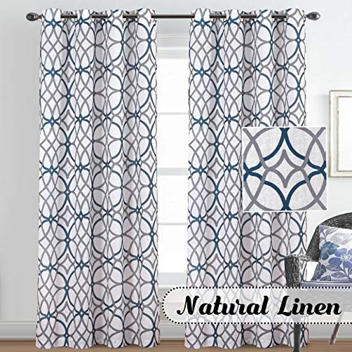 H.VERSAILTEX Natural Linen Mixed Rich Material Curtains for Bedroom Nickel Grommet Window Panel Drapes Set of 2, 52 by 84 Inches Length,Grey and Navy Geo Pattern (Grey Curtains Navy And)