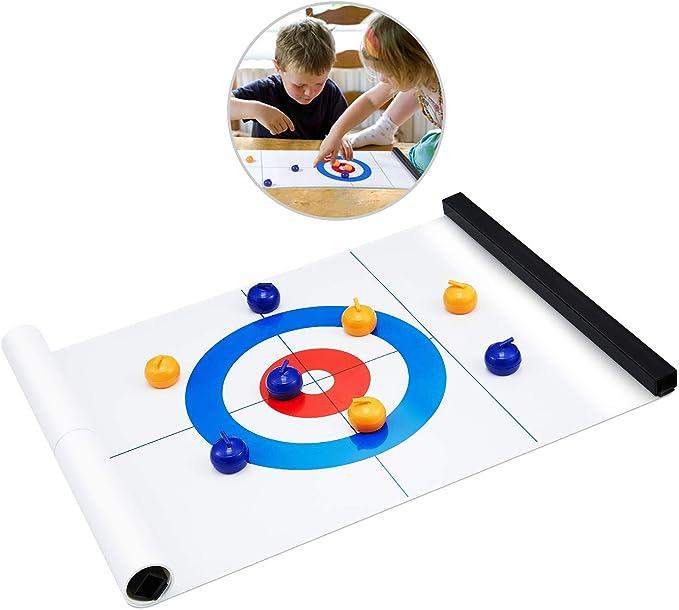 Juego de mesa curling, Compact Junta de curling Juego portátil Mini mesa de juegos de familia/escuela/viajes/mejores juegos entre padres e hijos: Amazon.es: Deportes y aire libre