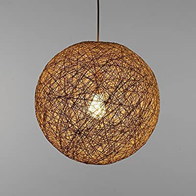Modern Red Lattice Wicker Rattan Globe Ball Style Ceiling Pendant Light Lampshade Home Dining Decoration Lamps 23 cm