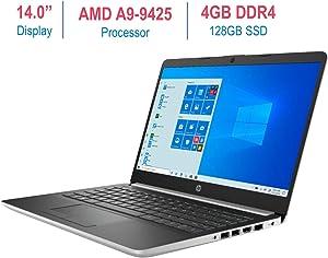 HP Premium 14-inch Micro-Edge Laptop Computer, AMD A9-9425 3.1GHz Processor, 4GB DDR4 RAM, 128GB PCI-e Solid State Drive, USB Type-C, Bluetooth,WiFi, HDMI, Webcam, Windows 10 w/ Tigology Mouse Pad