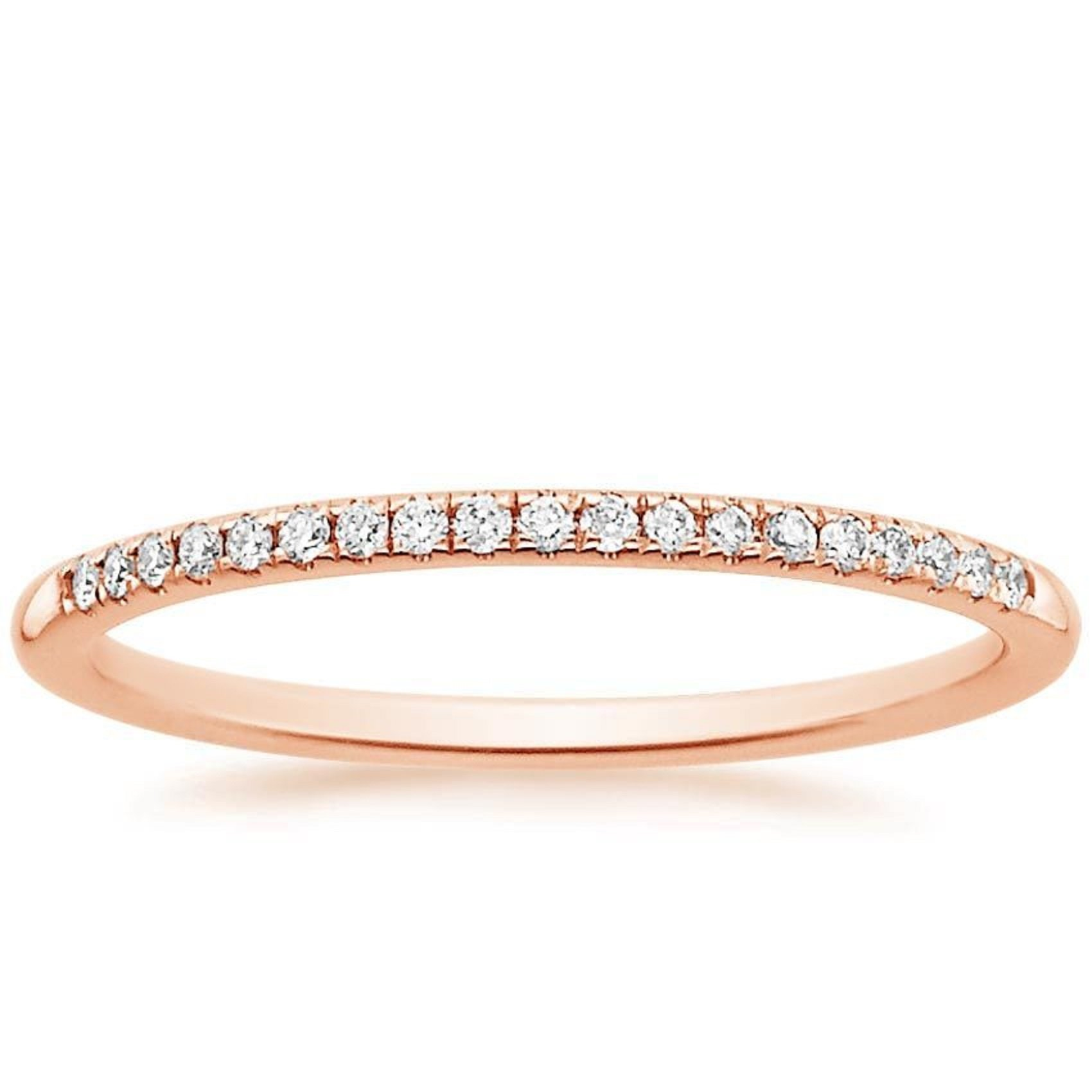 0.85 ct Brilliant Round Cut Wedding Promise Bridal Engagement Band In Solid 14K Rose Gold , Size 5