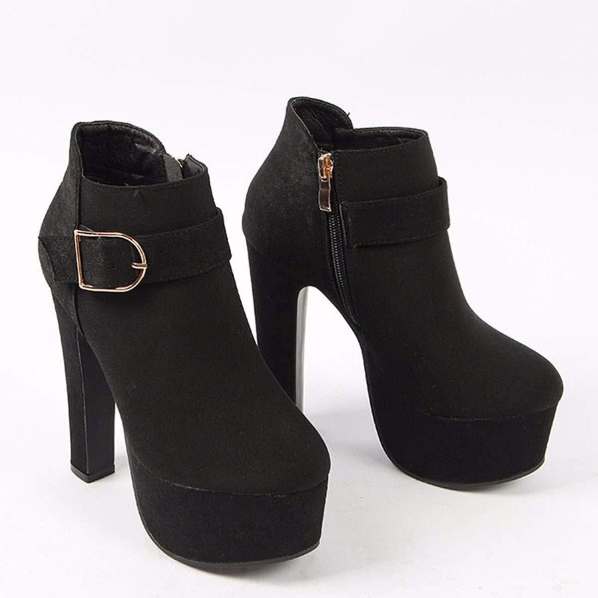 HBDLH Damenschuhe Wasserdichte Plattform Martin Stiefel Mit Hohen High - Heel 14 cm Kurze Stiefel Joker Nachtclub Kurze Stiefel.