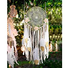 Packing List: 1. 5 feather with gold powder and  2. 3 Artificial flowers with wire 3. 1 Dreamcatchers web with metal rings 4 a lot of beige tassels Feature: 1.DIY Boho Dream Catchers are suitable for home decoraion, wall hanging decoration, w...