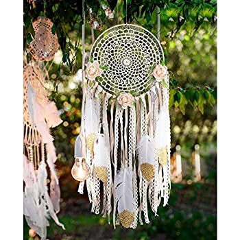 AerWo Boho Dream Catchers Handmade White Gold Feather Dreamcatchers with Flowers for Wall Hanging Decoration, Wedding Decoration Craft (Dia 7.8