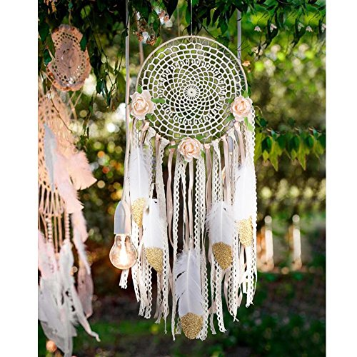 AerWo Boho Dream Catchers Handmade White Gold Feather Dreamcaters with Flowers for Wall Hanging Decoration Wedding Decoration Craft Dia 78quot Length 20quot