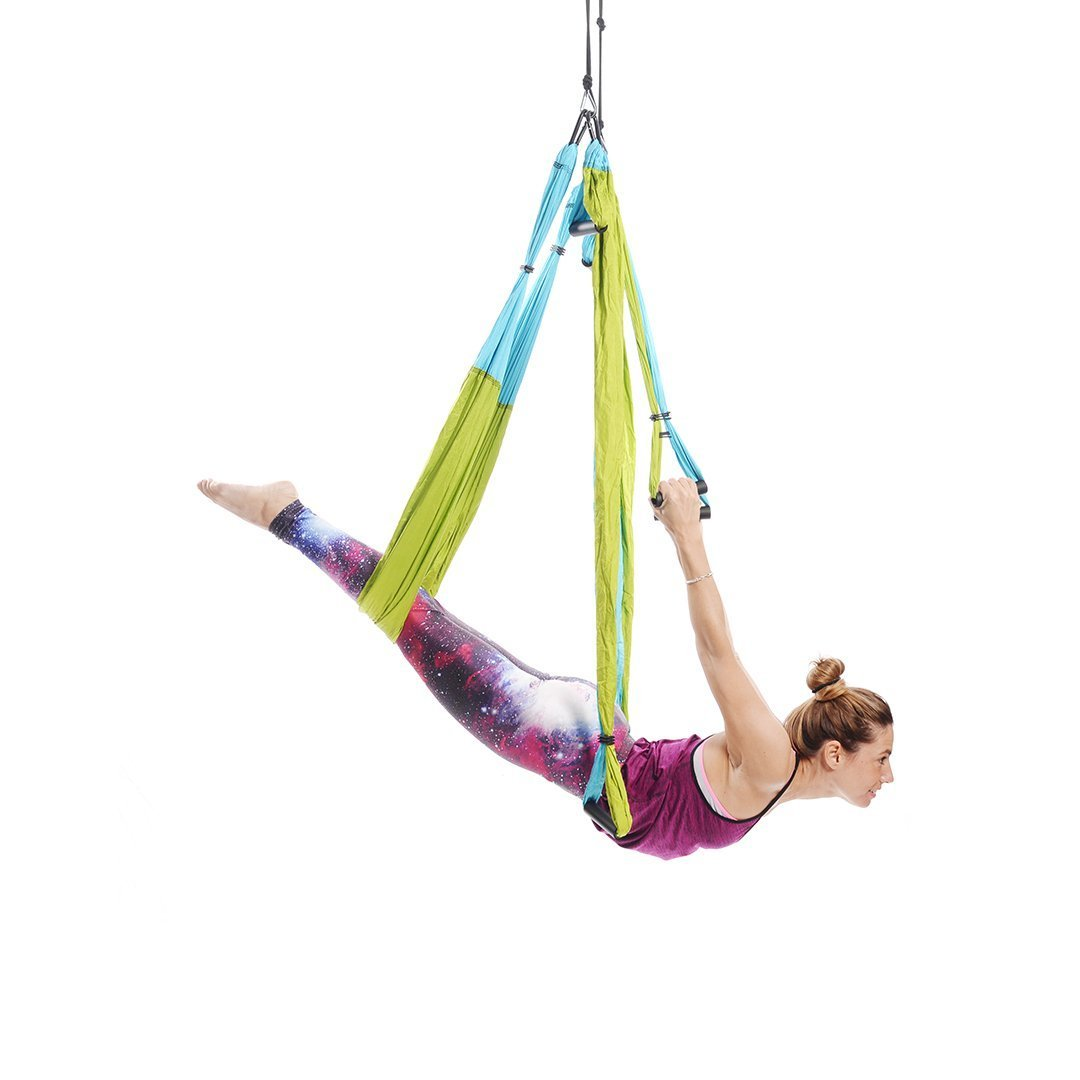Ranbo aerial yoga trapeze set Ultra Strong Antigravity Yoga Swing / Hammock Holds Up to 400 Pounds for Inversion Exercises Pilate Fitness Flexibility Core Strength Weight Loss (Blue-green)