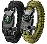"A2S Protection Paracord Bracelet K2-Peak – Survival Gear Kit with Embedded Compass, Fire Starter, Emergency Knife & Whistle (Black / Green 9"")"