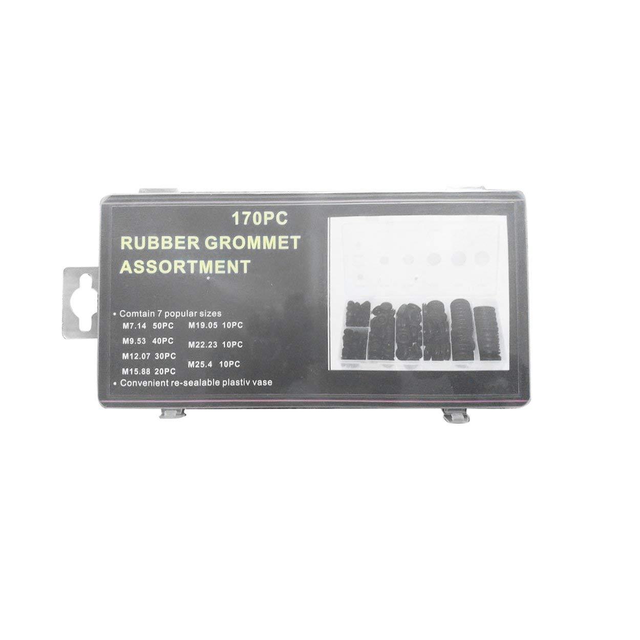 Lorenlli 170Pcs Rubber Grommet Assortment Contain 7 Popular Sizes Firewall Hole Plug Set Electrical Wire Gasket Kit For Car