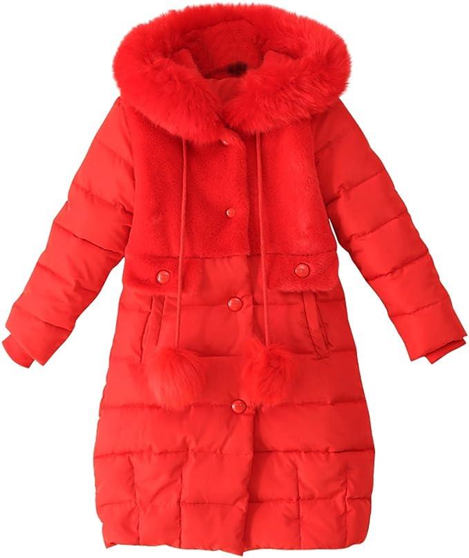 LSERVER Daunenjacke Kinder Jungen Mädchen Winterjacke mit Fellkapuze, Langen Stil Baumwolle Mode Mantel Daunenmantel mit Kapuze