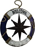24 Inch Diameter Wood and Metal Nautical Life Ring Welcome Sign