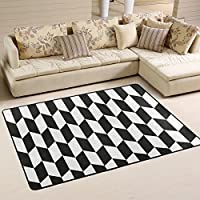 DEYYA Black White Chevron Non-slip Area Rugs Carpet,Black and White Articles Polyester Area Rug Mat for Living Dining Dorm Room Bedroom Home Decorative 4x6