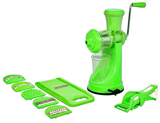 Best Combo Of Fruit & Vegetable Premium Manual Hand Juicer Mixer + 2 In 1 Multi Veg Cutter with Peeler like Chilly Cutter, Banana Cutter, carrot, Radish, Green Turmeric,Okra, Ladyfinger cutter etc at amazon