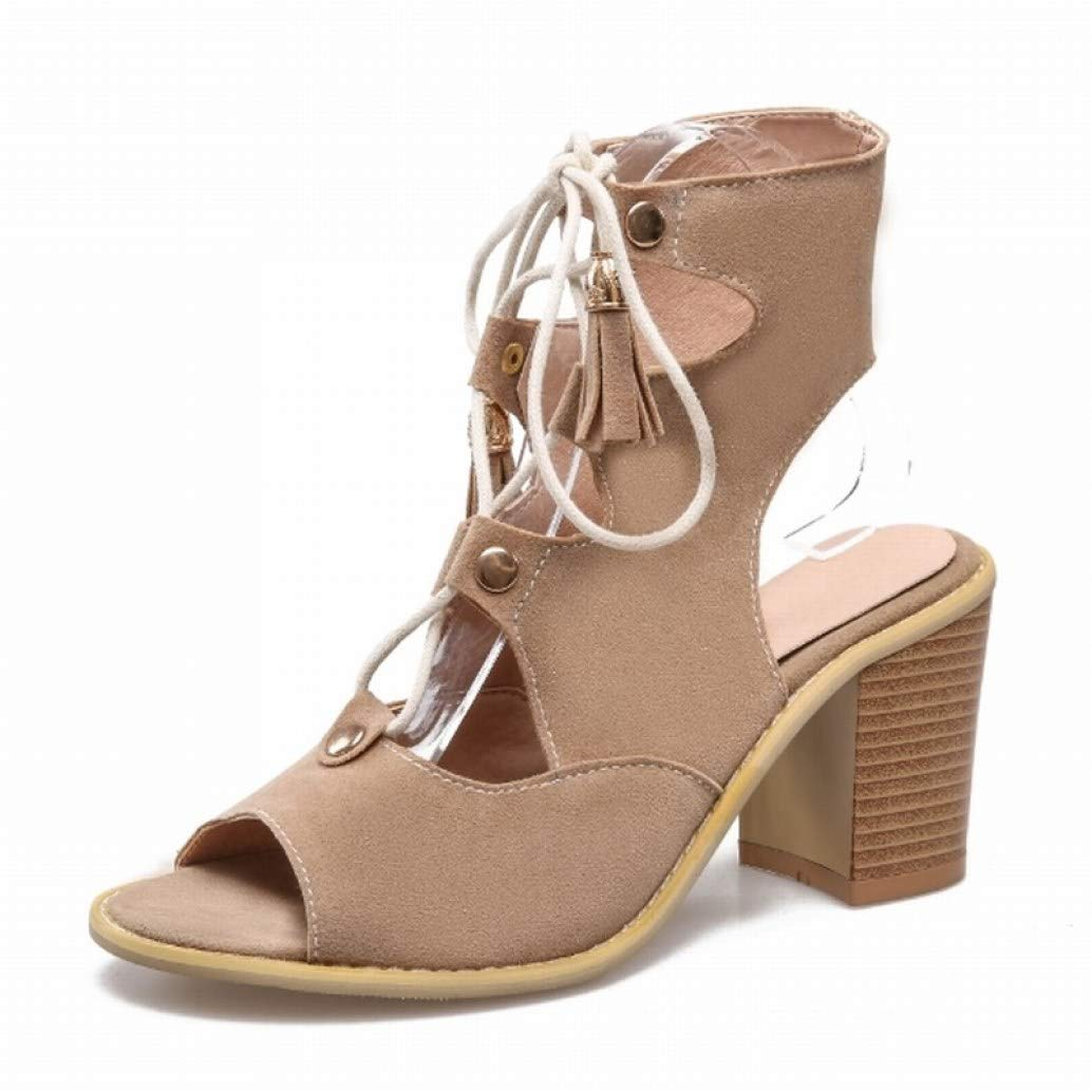 Beige MEIZOKEN Women's Tassel Stacked Block Heel Gladiator Sandal Peep Toe Lace Up shoes Cutout Chunky High Heel Sandals