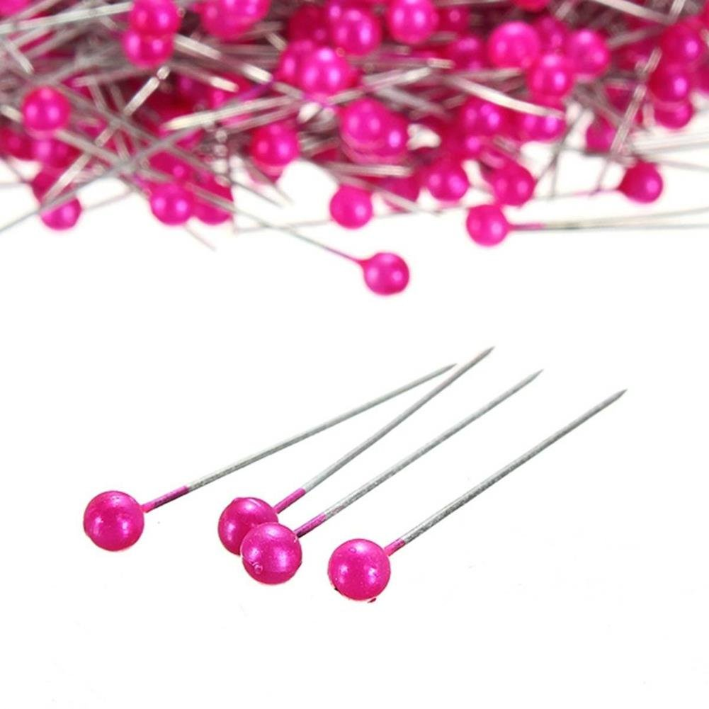 OIVA 800pcs Round Pearl Head Dressmaking Pins Weddings Corsage Florists Sewing Pin 3.5 cm, Light Pink