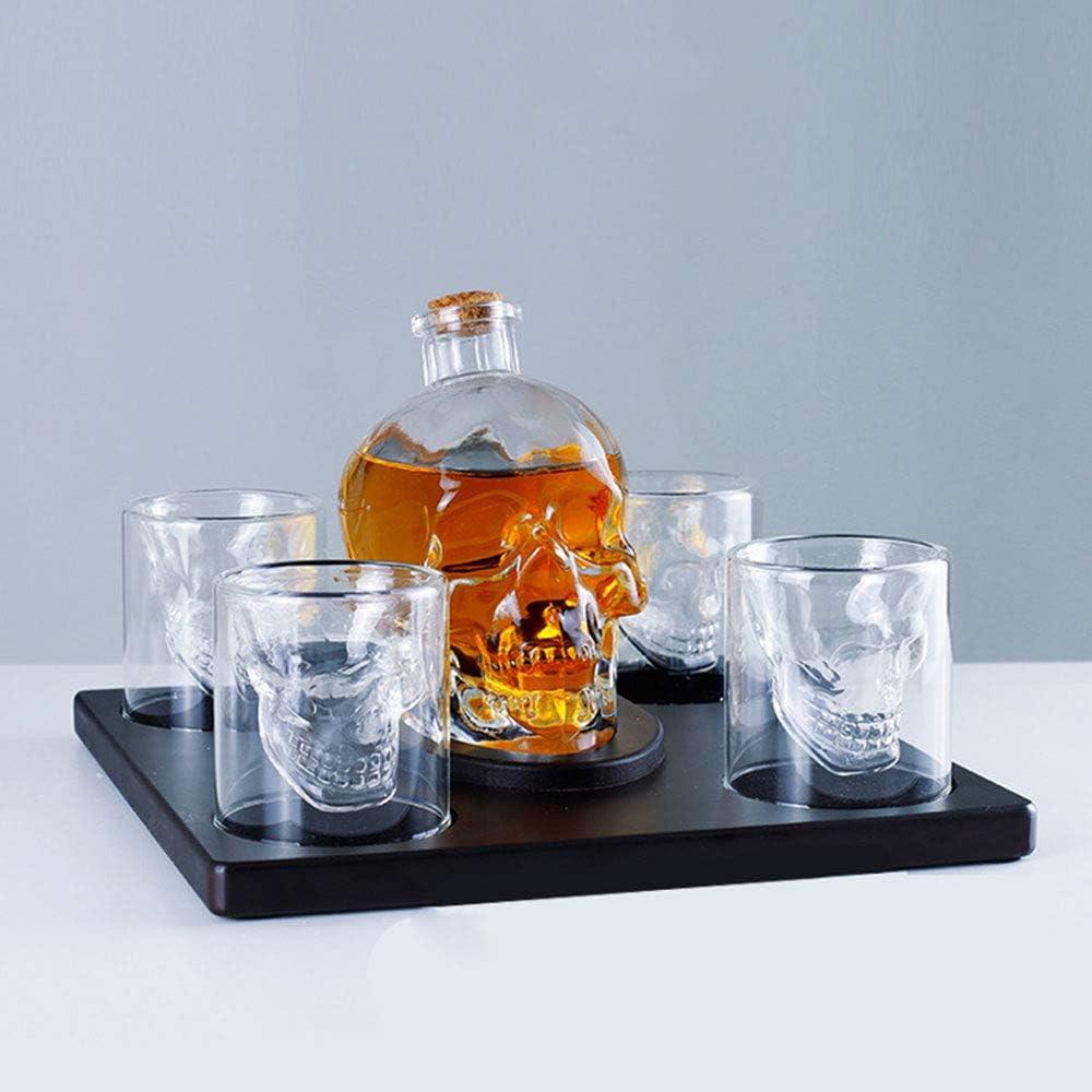 Juego De Botellas De Vidrio De Whisky Skull Decantador Creativo 100% Vidrio Sin Plomo + 4 Copas De Vino, Decantador De Copa De Vino, Papá, Amigos, Colegas, Jefes