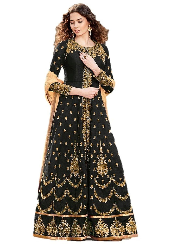 EthnicWear Wedding Bridal Wear Black Silk Embroidered Anarkali Suit
