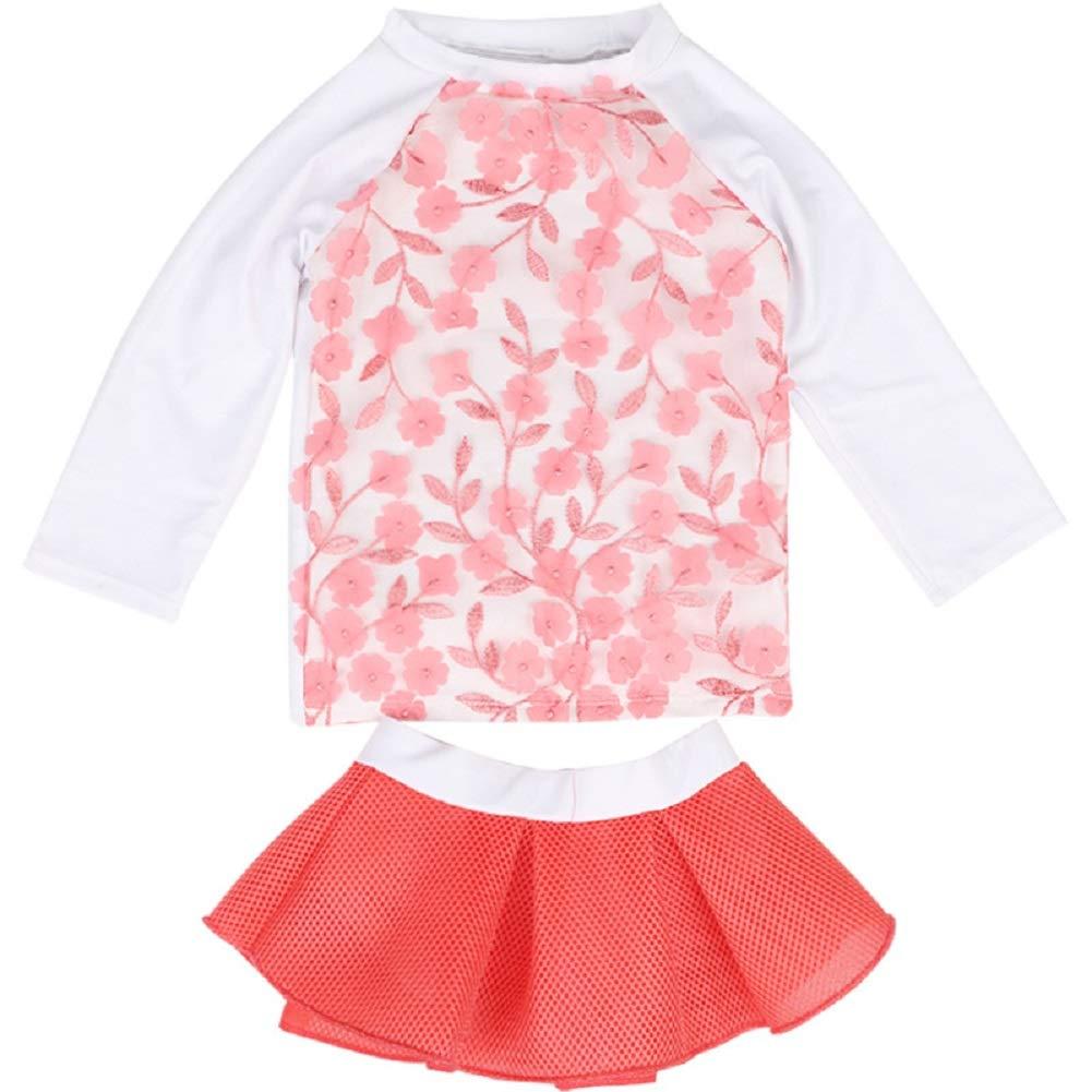 Sun Baby//Toddler Girls Short Sleeve Rash Guard 2-Piece Swimsuit Set Flower Dress with UPF 50