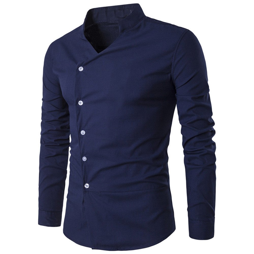 Men Blouse Long Sleeve Shirt Irregular Slim T Shirt for Men Casual Tops Blouse Pullover Sweatshirt