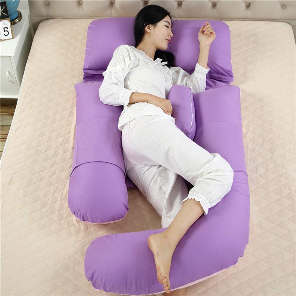 妊娠中の女性の枕コットンウエストサイドスリーピングピロー多機能U字型ピロー取り外し可能および洗えるソフトコンフォート180 * 75 cm大きいサイズ,Purple B07QYVZ634 Purple
