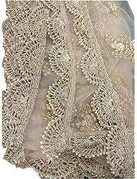 Designer India Partywear Golden Dupatta for Salwar Kameez Lehenga for Women