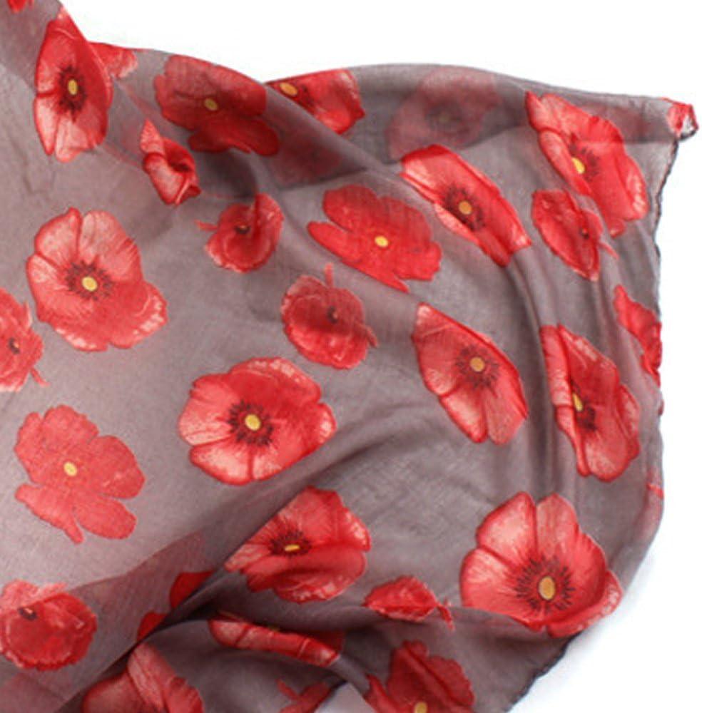 Beetest Encantadora Flor de Amapola de impresi/ón de la Moda de Las Mujeres Chal Largo Bufanda para la Playa Cubrir la Cabeza pa/ñuelo de Mano Accesorios
