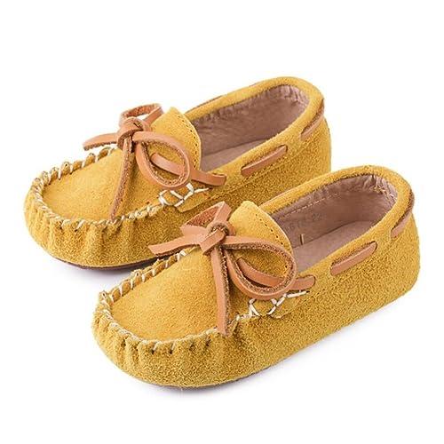 HUAN Niños bebé niño niña Slip-on ante loafers Guantes de piel/Apartamentos: Amazon.es: Jardín