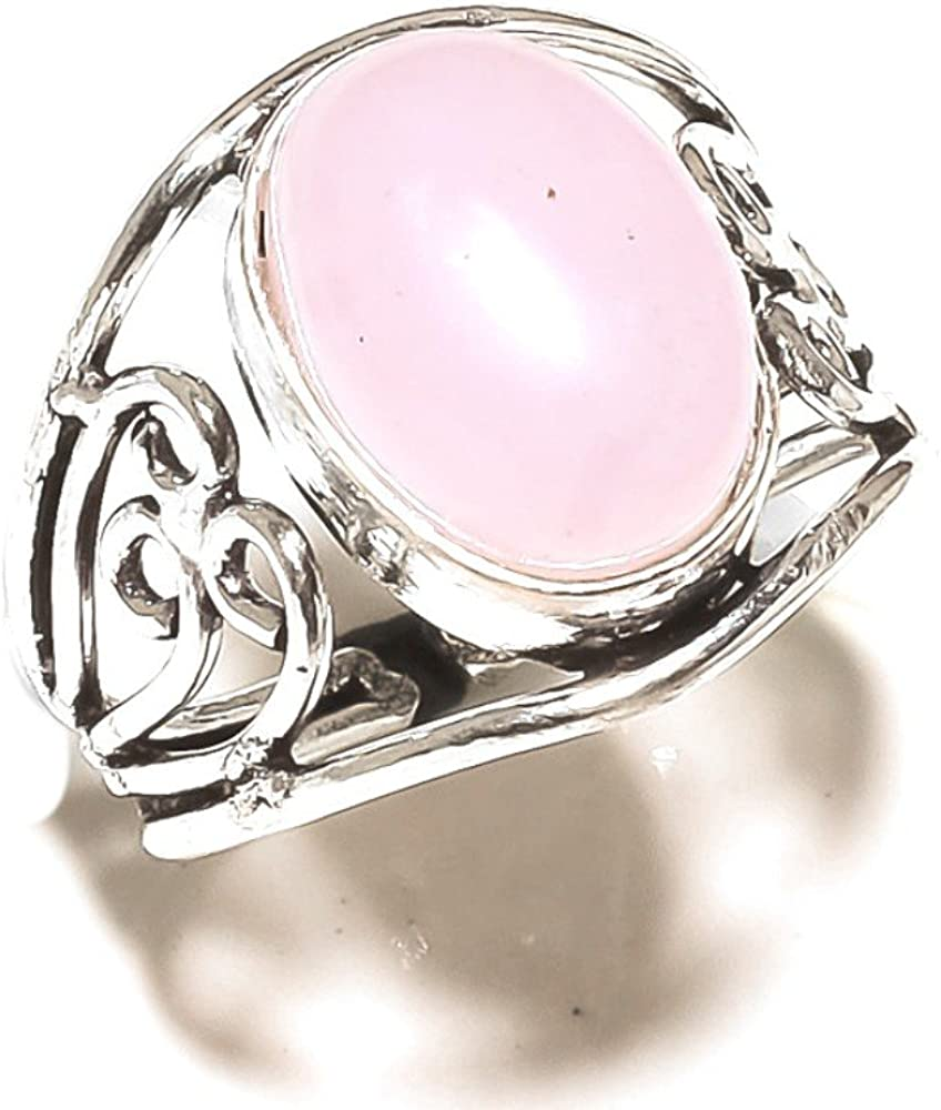Sizable Pink Rose Quartz Handmade Jewellry 925 Sterling Silver Plated 5 Grams Ring Size 9 US Fantasy