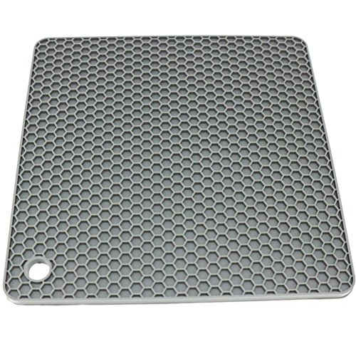 Lucky Plus Silicone Rubber Trivet Mat for Hot Pan and Pot Hot Pads Counter Mat Heat Resistant Tablemat or Placemats 4 Pack,Size:7.5x7.5 Inch, Color: Gray,Shape:Square by Smithcraft (Image #2)