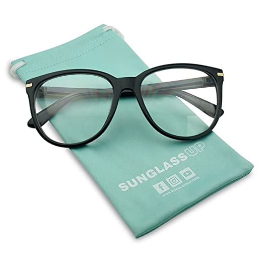 70a1b515a0d Large Round Horn Rimmed Clear Lens Fashion Oval Eye Glasses Non-Prescription  (Black)