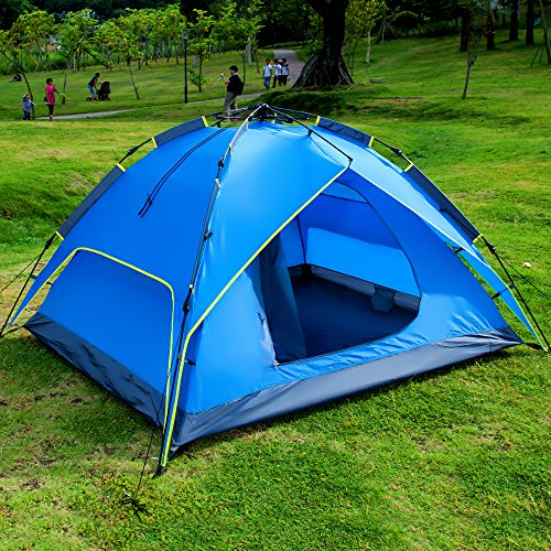 Outdoor Automatic Camping Family Tent. Suit For 3 or 4 Person LK(blue) (Quest Sport Dome Canopy compare prices)