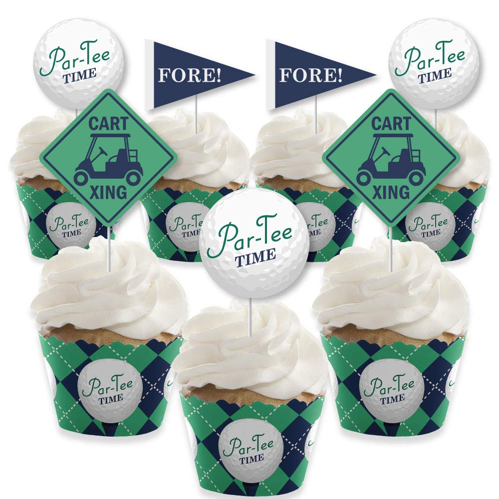 Par-Tee Time - Golf - Cupcake Decoration - Birthday or Retirement Party Cupcake Wrappers and Treat Picks Kit - Set of 24