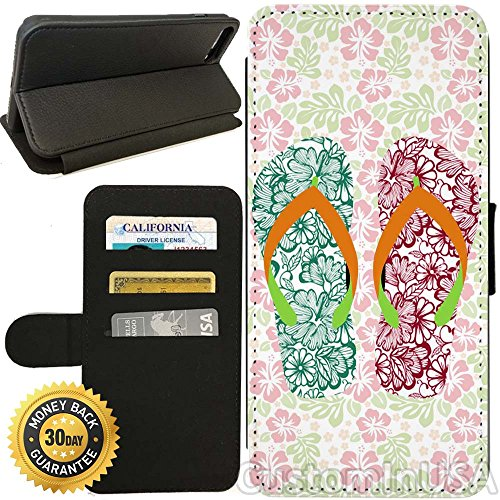 Flip Wallet Case for iPhone 7 Plus (Floral Flip Flops Hibiscus) with Adjustable Stand and 3 Card Holders | Shock Protection | Lightweight | by Innosub (Flip Flop Holder Card)