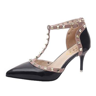 6b916a0f7cf Oasap Women s Stiletto Heels Pointed Toe Rivet T-Strap Pumps
