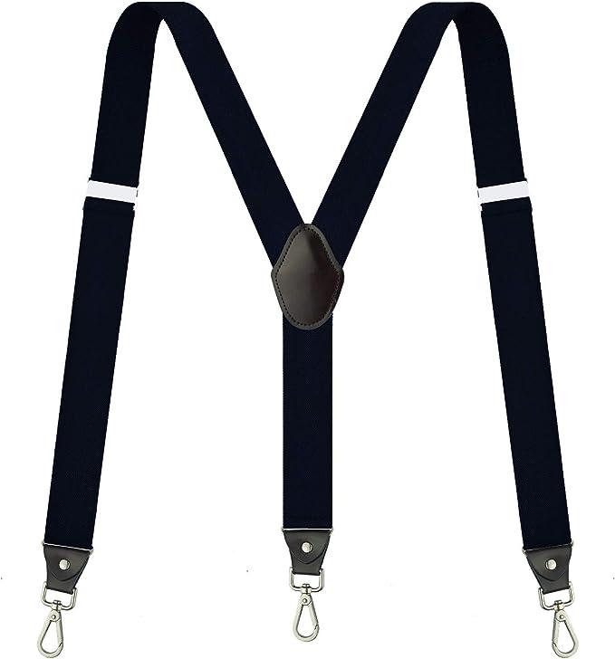 New Y back Men/'s Vesuvio Napoli elastic Suspenders Braces plaids gray black