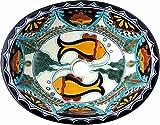 Tierra y Fuego Ceramic Bathroom Sink - Acapulco Fish - Oval Self-Rimming