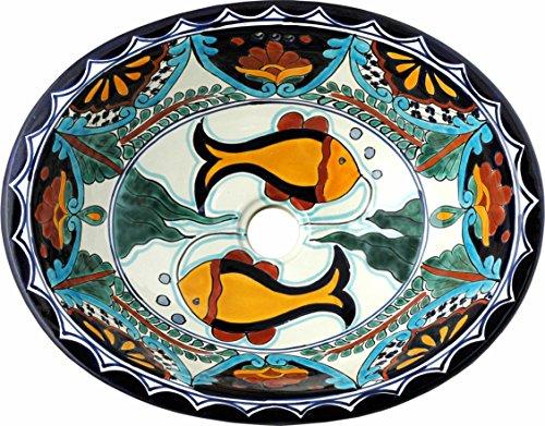 Tierra y Fuego Ceramic Bathroom Sink - Acapulco Fish - Oval Self-Rimming by Tierra y Fuego