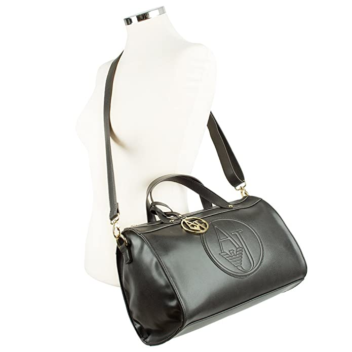 be934a8a20f5 Armani Jeans Bake Black Vintage Eco Leather Barrel Bag Black Leather   Amazon.co.uk  Shoes   Bags