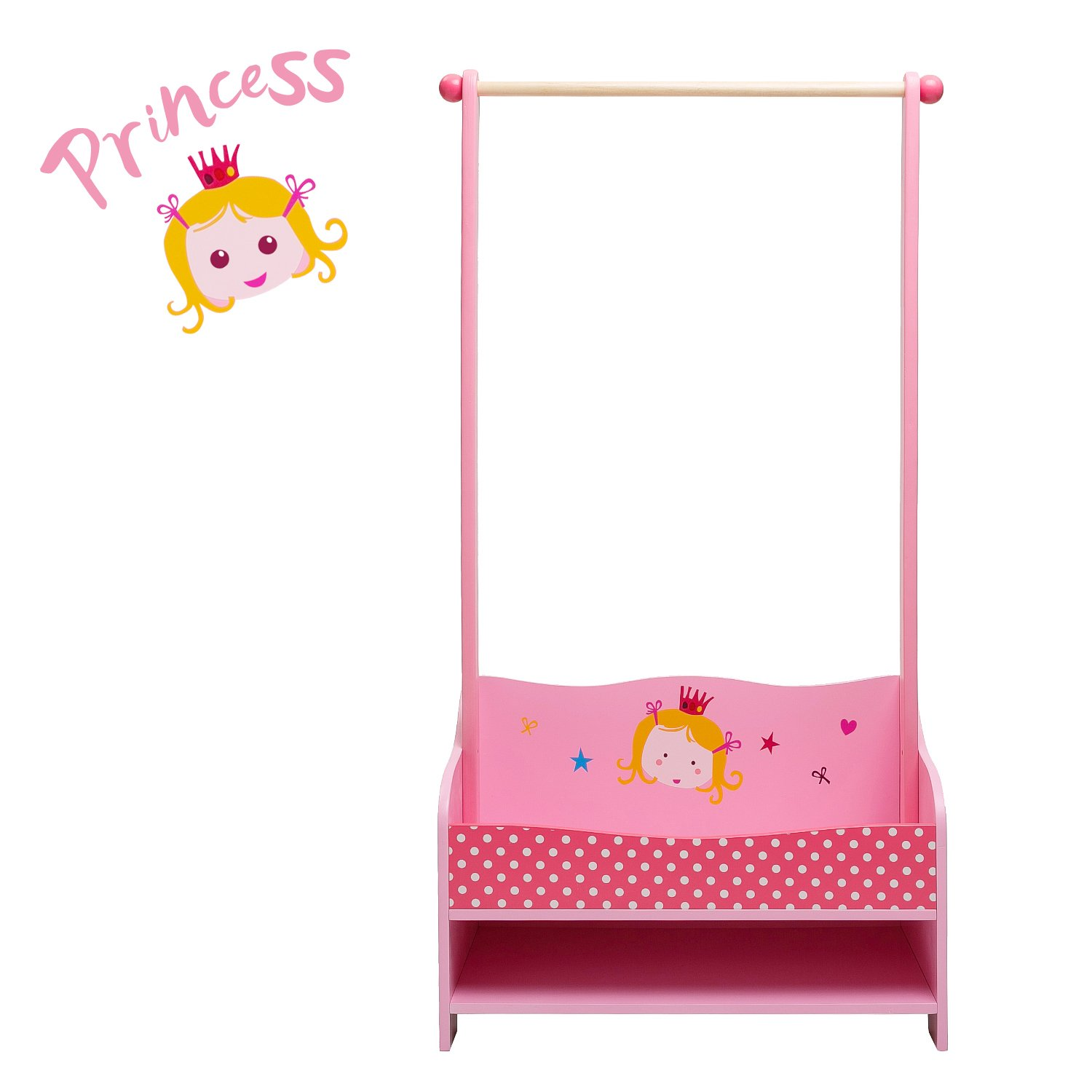 ✦✦✦ Labebe 3-in-1 Pink Baby Clothes Rack, Baby Garment Rack in Wood for Girls of 2-5 Years, Kid Clothes Rack Shelf/Boutique Clothes Rack Organize/Girl Clothes Rack Stand/Storage Rack Clothes by labebe